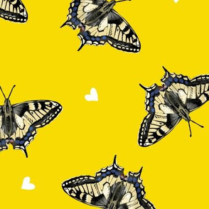 Butterflies on Yellow with Hearts