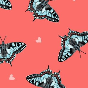 Butterflies on Coral Pink with Hearts