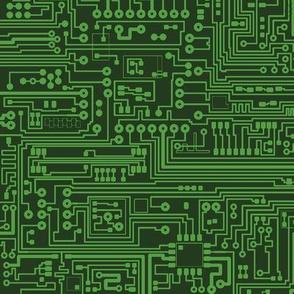 Circuit Board // Light on Dark Green // Small