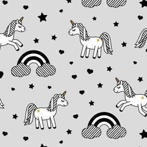 monochrome unicorns w/ rainbows