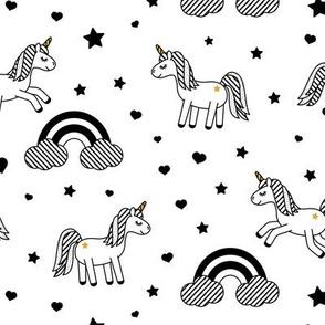 monochrome unicorns w/ rainbows (white)