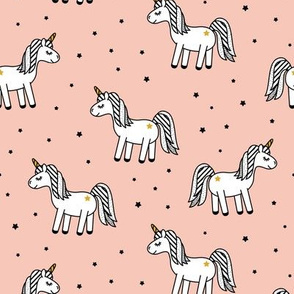 monochrome unicorns (salmon peach)