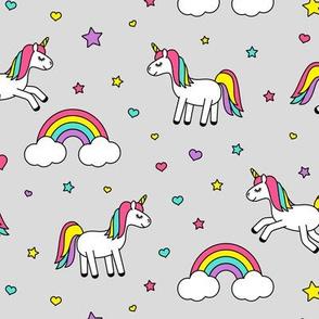 unicorns with rainbows (bright) on grey