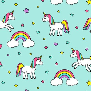 unicorns with rainbows (bright) on aqua