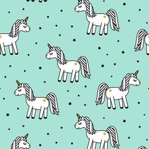 monochrome unicorns (aqua)