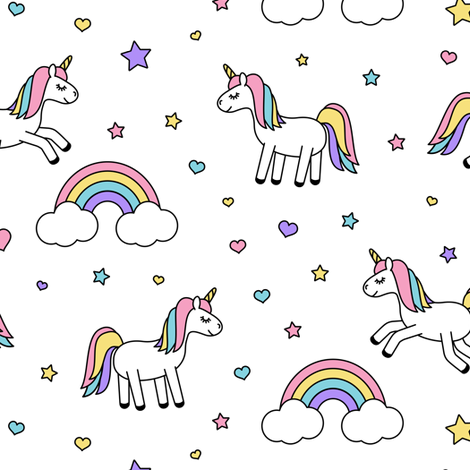 unicorn with rainbows (pastel) on white fabric by littlearrowdesign on Spoonflower - custom fabric