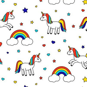 unicorns with rainbows (primary) on white