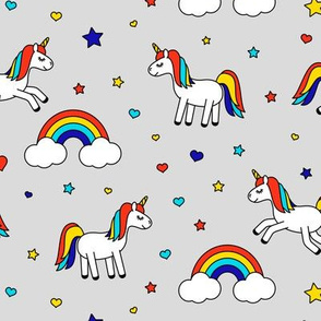 unicorns with rainbows (primary) on grey