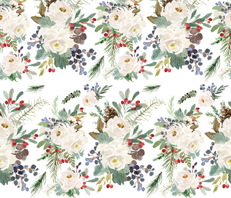Winterberry Floral Arrangement fabric by hipkiddesigns on Spoonflower - custom fabric