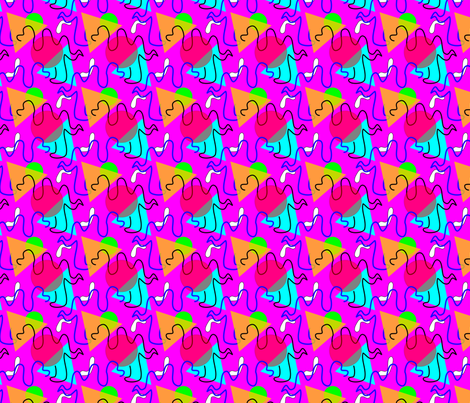 memphis_style_camel_squiggle_pink fabric by empressoffabrics on Spoonflower - custom fabric