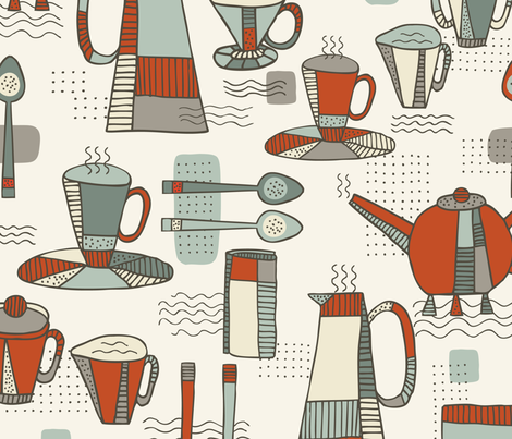Coffee, Memphis Style - Cream fabric by fernlesliestudio on Spoonflower - custom fabric