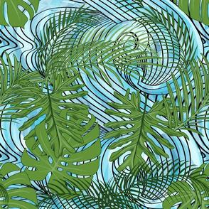 Ocean Waves Through The Leaves