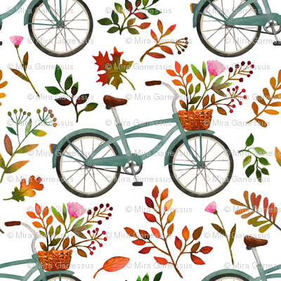 autumn bike ride - white, large