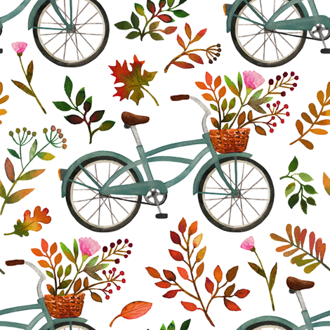 autumn bike ride - white, large fabric by mirabelleprint on Spoonflower - custom fabric