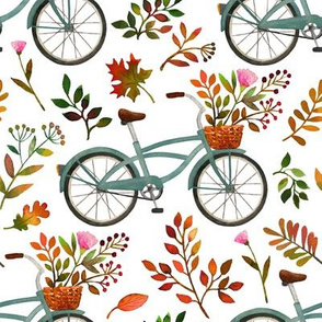 autumn bike ride - white, large