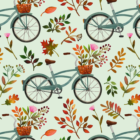 autumn bike ride - light mint, small fabric by mirabelleprint on Spoonflower - custom fabric