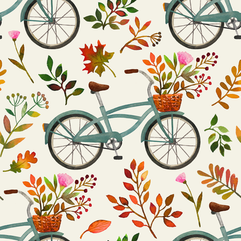 autumn bike ride - cream, large fabric by mirabelleprint on Spoonflower - custom fabric