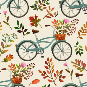 autumn bike ride - cream, large