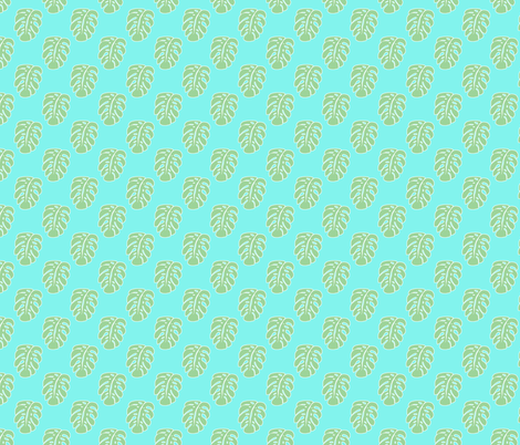 Aqua Monstera leaf  fabric by maliuana on Spoonflower - custom fabric