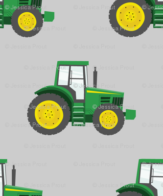 green tractors on grey - farm fabric