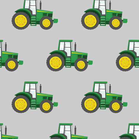 green tractors on grey - farm fabric fabric by littlearrowdesign on Spoonflower - custom fabric