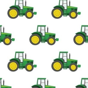 green tractors - farming fabric