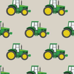 green tractor on beige - farm fabric