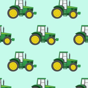 green tractors on blue - farm fabrics