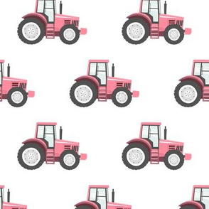 pink tractor on white - farm fabric