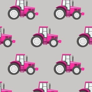 hot pink tractors on light grey