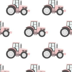 light pink tractor - farm fabric