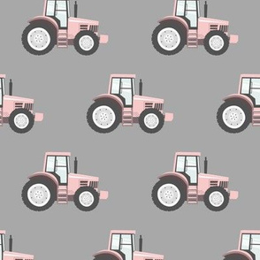 light pink tractors on grey - farm fabric