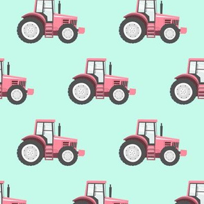 pink tractor on blue - farm fabric