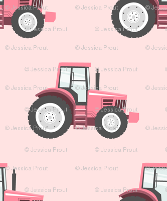 pink tractors on pink - farm themed fabric