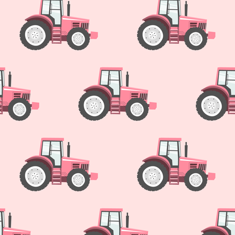 pink tractors on pink - farm themed fabric fabric by littlearrowdesign on Spoonflower - custom fabric