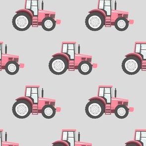 pink tractors on light grey - farming fabric