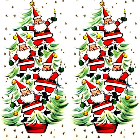 Merry Christmas Santa Claus Christmas trees stars baubles candles decorations fabric by raveneve on Spoonflower - custom fabric
