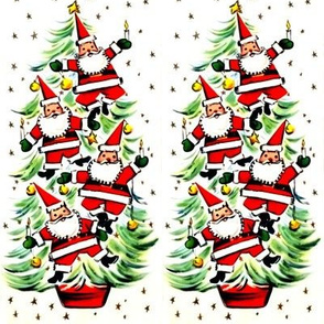 Merry Christmas Santa Claus Christmas trees stars baubles candles decorations