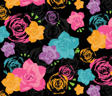 Day of the Dead Purple Floral fabric by halfpintpartydesign on Spoonflower - custom fabric