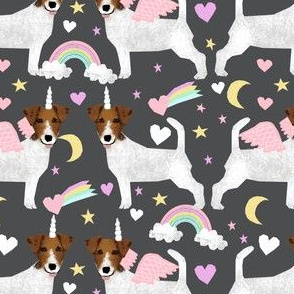 jack russell unicorn fabric pastel unicorns rainbows design  - charcoal