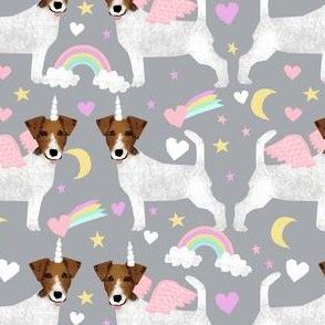 jack russell unicorn fabric pastel unicorns rainbows design  - light grey