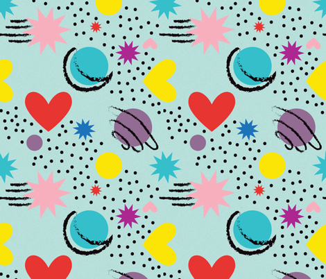 Big Bold Memphis Night-energetic bright shapes fabric by josiewhitmoreso on Spoonflower - custom fabric