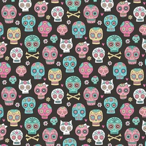 Sugar Skulls on Black Smaller