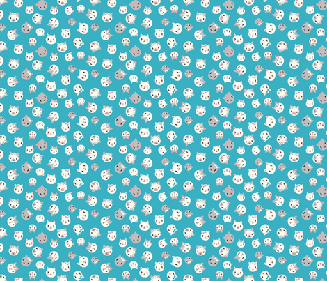 tiny kittens - teal fabric by desi_draws on Spoonflower - custom fabric