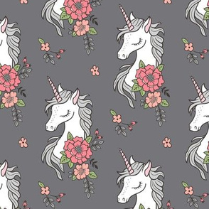 Dreamy Unicorn & Vintage Boho Pink Peach Flowers on Dark Grey Smaller 4 inch