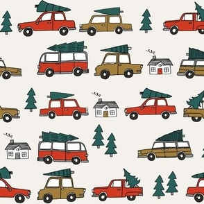 Christmas cars with christmas trees cute fabric winter holiday red neutral
