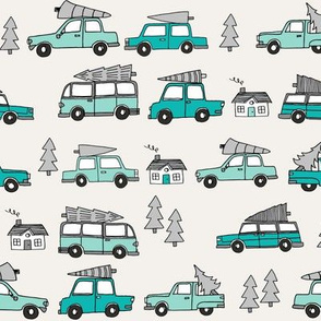 Christmas cars with christmas trees cute fabric winter holiday turquoise