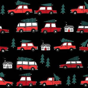 Christmas cars with christmas trees cute fabric winter holiday black