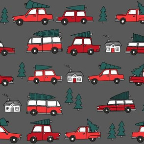 Christmas cars with christmas trees cute fabric winter holiday charcoal
