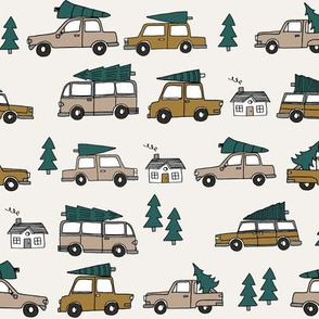 Christmas cars with christmas trees cute fabric winter holiday neutral